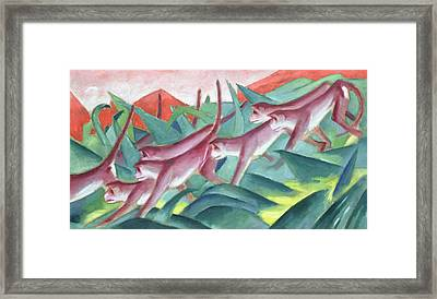 Monkey Frieze Framed Print by Franz Marc