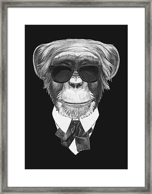 Monkey In Black Framed Print by Marco Sousa