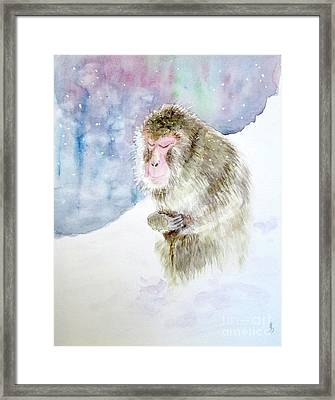 Framed Print featuring the painting Monkey In Meditation by Yoshiko Mishina