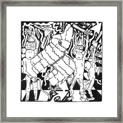 Monkey Pinata Party Framed Print by Yonatan Frimer Maze Artist