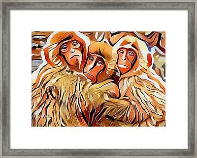 Monkey Selfie Framed Print