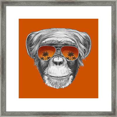Monkey With Mirror Sunglasses Framed Print by Marco Sousa