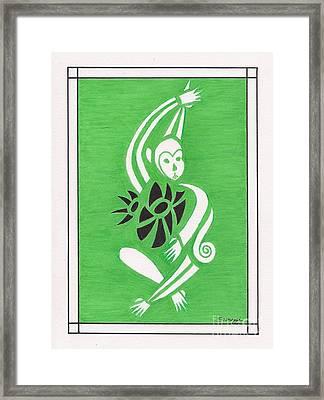 Monkeying Around -- Whimsical Stylized Monkey Framed Print