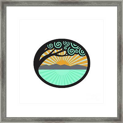 Monkeypod Tree Mountain Sea Sunrise Oval Retro Framed Print by Aloysius Patrimonio