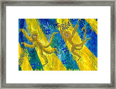 Monkeys And Sunbeams Framed Print by Sushila Burgess