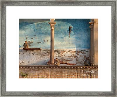 Framed Print featuring the photograph Monkeys At Sunset by Jean luc Comperat