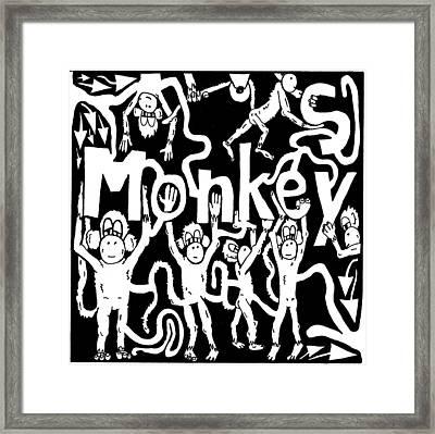 Monkeys Maze For M Framed Print by Yonatan Frimer Maze Artist