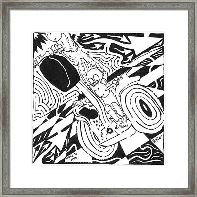 Monkeys On Segway Framed Print by Yonatan Frimer Maze Artist