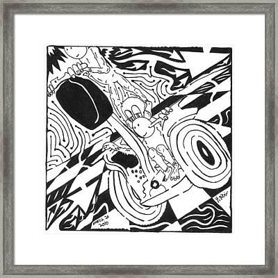 Monkeys On Segway Framed Print by Yonatan Frimer Maze Artist