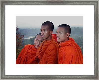 Monks At Angkor Wat Framed Print