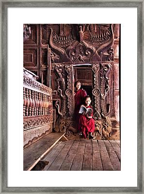 Monks In Myanmar Framed Print