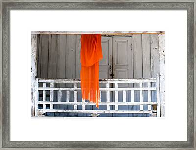 Monk's Robe Hanging Out To Dry, Luang Prabang, Laos Framed Print
