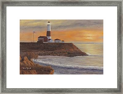 Monntauk Lighthouse Sunset Framed Print