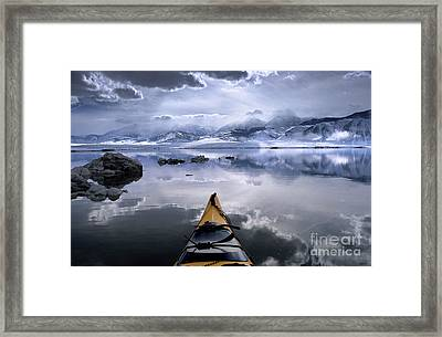 Mono Lake Winter Kayak Framed Print by Buck Forester