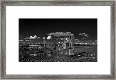 Monochrome Groynes Framed Print