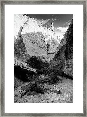 Monochrome Image Of Slot Canyon At Tent Rocks Kasha Katuwe - Jemez Mountains New Mexico Framed Print