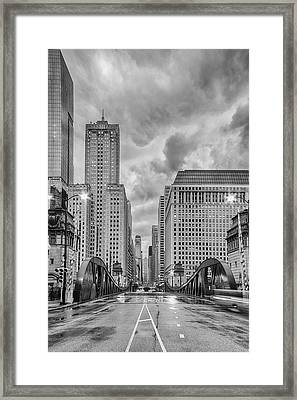 Monochrome Image Of The Marshall Suloway And Lasalle Street Canyon Over Chicago River - Illinois Framed Print