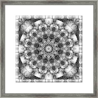 Framed Print featuring the digital art Monochrome Kaleidoscope by Charmaine Zoe