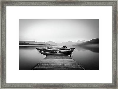 Monochrome // Lake Mcdonald, Glacier National Park Framed Print