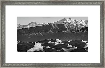 Monochrome Morning Sand Dunes And Snow Covered Peaks Framed Print by James BO Insogna