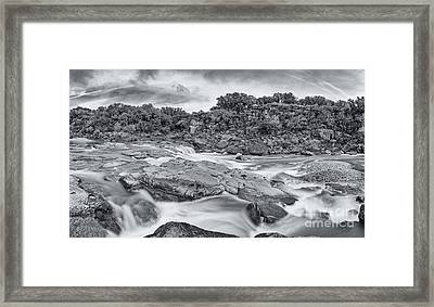 Monochrome Panorama Of Pedernales Falls State Park - Texas Hill Country Framed Print by Silvio Ligutti