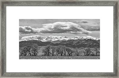 Framed Print featuring the photograph Monochrome Rocky Mountain Front Range Panorama Range Panorama by James BO Insogna