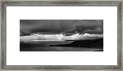 Monochrome Storm Panorama Framed Print