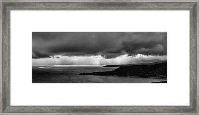 Monochrome Storm Panorama Framed Print