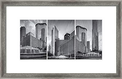 Monochrome Triptych Of Downtown Houston Buildings - Harris County Texas Framed Print