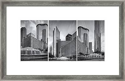 Monochrome Triptych Of Downtown Houston Buildings - Harris County Texas Framed Print