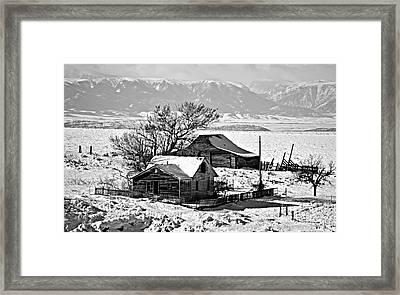 Monochrome Winter Postcard Greeting Framed Print