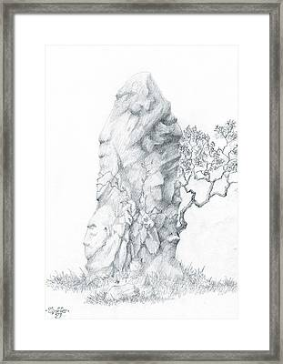 Framed Print featuring the drawing Monolith 2 by Curtiss Shaffer