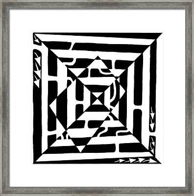 Monolith Maze Optical Illusion Framed Print by Yonatan Frimer Maze Artist