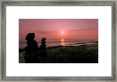 Framed Print featuring the photograph Monoliths At Sunset by Lori Seaman