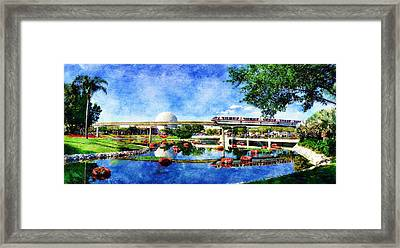 Monorail Red - Coming 'round The Bend Framed Print by Sandy MacGowan