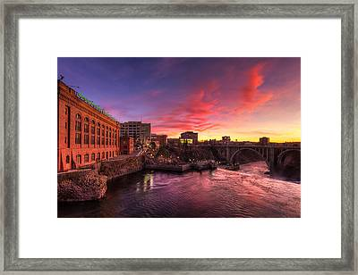Monroe Bridge Sunset View Framed Print by Mark Kiver