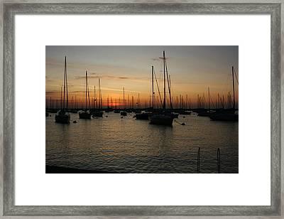 Monroe Harbor Sunrise Framed Print by Gregory Jeffries