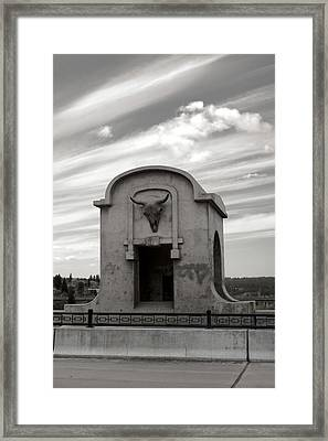 Monroe St Bridge Buffalo Skull Sitting Vault Framed Print