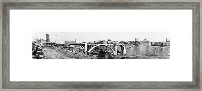Monroe St Bridge Construction - Spokane 1911 Framed Print