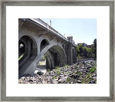 Monroe St Bridge From Centennial Trail Framed Print