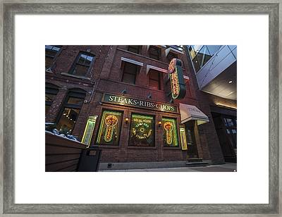 Framed Print featuring the photograph Monroe St Steakhouse by Nicholas Grunas