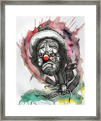 Monsanto's Sad Clown Corn Affair Framed Print by Tai Taeoalii