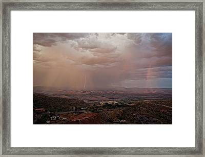 Framed Print featuring the photograph Monsoon Lightning And Rainbow by Ron Chilston