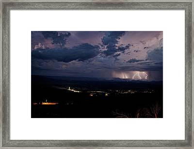 Framed Print featuring the photograph Monsoon Lightning Over Sedona From Jerome Az by Ron Chilston