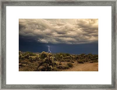 Monsoon Magic In The Desert Southwest Framed Print by Saija  Lehtonen