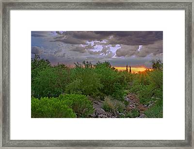Framed Print featuring the photograph Monsoon Sunset H56 by Mark Myhaver