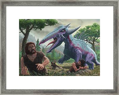 Framed Print featuring the painting Monster Attacking Cavemen by Martin Davey