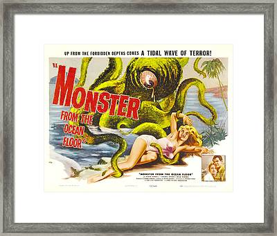 Monster From The Ocean Floor Retro Movie Poster Up From The Forbidden Depths Comes A Tidal Terror Framed Print by R Muirhead Art