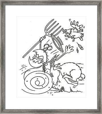Monster Getting Chased Framed Print