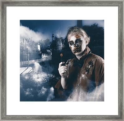 Monster In Cemetery Holding Gun. Grave Robber Framed Print